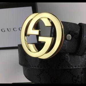Gucci men belt gg logo gold 120cm length with box